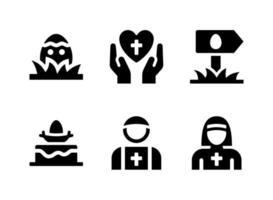 ensemble simple d'icônes solides vectorielles liées à Pâques. contient des icônes comme le gâteau de Pâques en prière, le prêtre, la nonne et plus encore. vecteur
