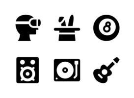 ensemble simple d'icônes solides vectorielles liées au divertissement. contient des icônes comme la réalité virtuelle, la guitare, le système audio, la platine vinyle et plus encore. vecteur