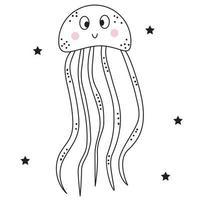 l'animal marin est une méduse. personnage sous-marin décoratif avec des yeux et un sourire. vecteur