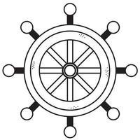 volant du navire. l'élément de contrôle du navire est le gouvernail. vecteur