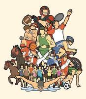 Groupe de dessin animé d & # 39; action de joueurs de sport vecteur