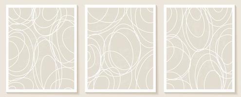 modèles contemporains avec des formes abstraites organiques et des lignes aux couleurs nude. fond de boho pastel en illustration vectorielle de style minimaliste du milieu du siècle vecteur