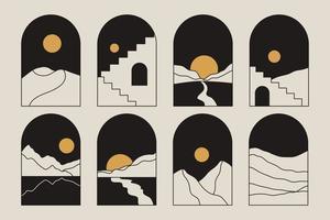 illustrations esthétiques de paysages de montagne abstraits minimalistes modernes contemporains. décoration murale de style bohème. vecteur