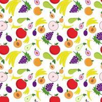 fond transparent avec des fruits. illustration vectorielle avec poire, pomme, pêche, raisins, bananes, abricots. vecteur