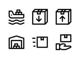 ensemble simple d'icônes de lignes vectorielles liées à la logistique. contient des icônes comme cargo, boîte, entrepôt, réception et plus encore. vecteur