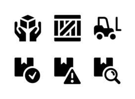 ensemble simple d'icônes solides vectorielles liées à la logistique. contient des icônes en bois, chariot élévateur, emballage prêt, champ de recherche et plus encore. vecteur