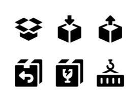 ensemble simple d'icônes solides vectorielles liées à la logistique. contient des icônes comme une boîte ouverte, un emballage, une boîte en verre, un conteneur et plus encore. vecteur