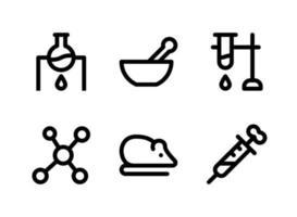 ensemble simple d'icônes de ligne vectorielle liées au laboratoire. contient des icônes comme la chimie de chauffage, un pilon de mortier, une molécule, une souris et plus encore. vecteur