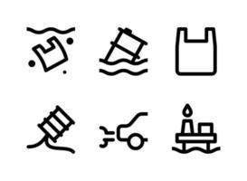 ensemble simple d'icônes de ligne vectorielle liées à la pollution. contient des icônes comme la pollution plastique, le baril flottant, les fuites d'huile, la voiture et plus encore. vecteur