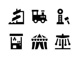 ensemble simple d'icônes solides vectorielles liées au terrain de jeu. contient des icônes comme parc aquatique, machine à griffes, chapiteau de cirque, carnaval et plus encore. vecteur