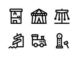 ensemble simple d'icônes de ligne vectorielle liées à l'aire de jeux. contient des icônes comme une machine à griffes, une tente de cirque, un carnaval, un parc aquatique et plus encore. vecteur