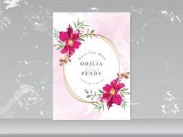 cartes d & # 39; invitation de mariage avec motif floral de verdure vecteur