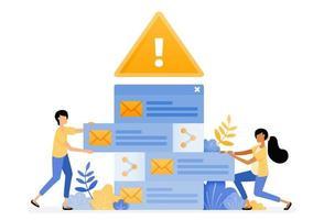 La conception de vecteur de bannière d'alertes d'erreur pour le tri des e-mails entrants contient des virus malveillants. Le concept d'illustration peut être utilisé pour la page de destination, le modèle, l'interface utilisateur, le web, l'application mobile, l'affiche, la bannière, le site Web