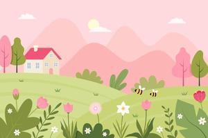 paysage de printemps avec jolie maison et illustration de fleurs vecteur