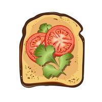 pain grillé avec des tomates et du persil. illustration vectorielle. vecteur