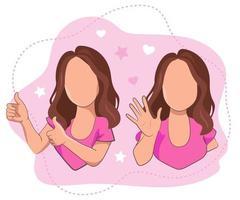 une fille avec les pouces vers le haut et une fille agitant sa main saluant ou disant au revoir. vecteur