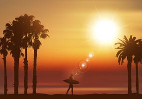 Surfeur dans un paysage tropical
