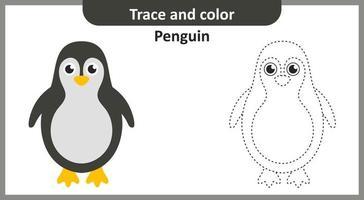 trace et couleur pingouin vecteur
