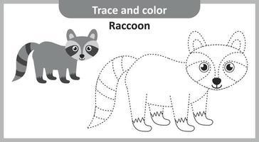 trace et couleur raton laveur vecteur