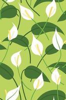 fond d'écran sans couture de fleurs de lis de paix et de feuilles pour le fond de plantes tropicales. vecteur