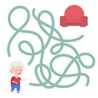 jeu de labyrinthe de grand-mère de dessin animé mignon. labyrinthe. jeu amusant pour l'éducation des enfants. illustration vectorielle vecteur