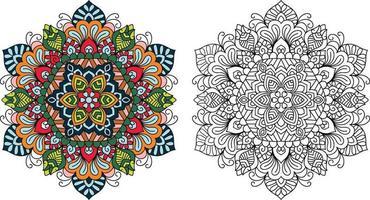 Doodle page de livre de coloriage mandala zentangle pour adultes et enfants. décoratif rond blanc et noir. vecteur
