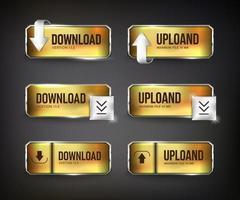 boutons web de téléchargement d'or et d'acier sur fond noir vecteur