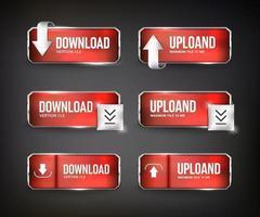 boutons web de téléchargement en acier rouge sur fond noir vecteur