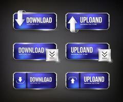 boutons web de téléchargement en acier bleu sur fond noir vecteur