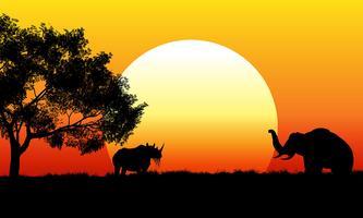 Scène de safari africain au coucher du soleil vecteur