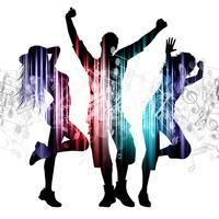 Gens qui dansent sur fond de notes de musique