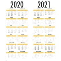 calendrier pour 2021 2021. modèle vectoriel simple