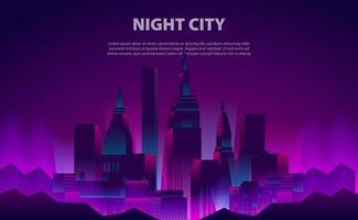 illustration lueur néon couleur nuit conception de la ville vecteur