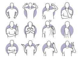 ensemble d'actions humaines de base et de langages corporels vecteur