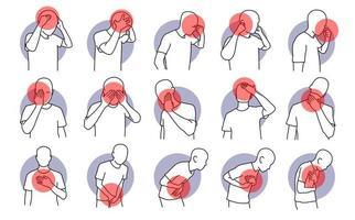 douleur, stress et maladie sur un plateau humain vecteur