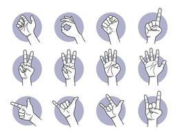 ensemble de gestes de la main et des doigts vecteur