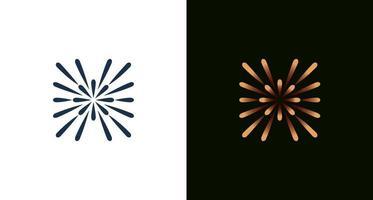 lettre minime abstraite h avec lumière, étoile, cercle, ensemble d'éléments de lignes or