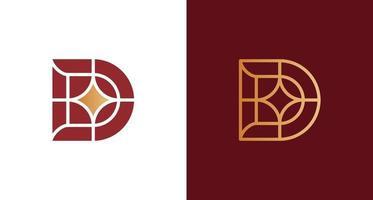 élégant logo lettre d minimal avec ensemble d'éléments de ligne étoile vecteur