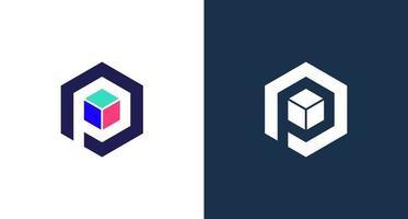 logo simple lettre p avec élément 3 couches en forme d'hexagone vecteur