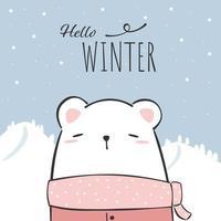dessin animé mignon ours polaire doodle fond d'écran d'hiver vecteur