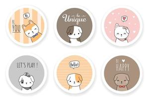 chien mignon chiot ami salutation dessin animé doodle jeu de badges vecteur
