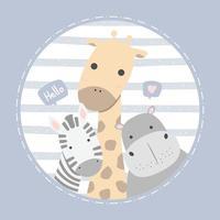 Carte pastel de dessin animé mignon zèbre girafe et hippopotame vecteur