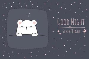 Carte d & # 39; enfant de doodle dessin animé mignon ours polaire endormi vecteur