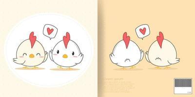ensemble de couverture de cahier mignon dessin animé poulet et coq vecteur