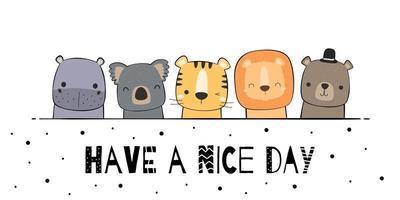 mignon hippopotame koala tigre lion ours en peluche animaux salutation dessin animé doodle vecteur