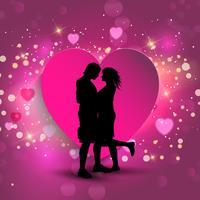 Couple sur fond de coeur vecteur