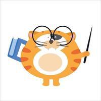 illustration de conception de modèle de vecteur de personnage de professeur de chat mignon