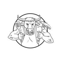 Longhorn bull holding saucisse barbecue dessin en noir et blanc vecteur