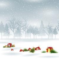 Fond de Noël avec des boules et des cadeaux vecteur
