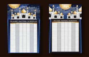 calendrier de prière musulman vecteur